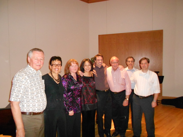 Post concert photo with composers Bruce Thompson and OBE guest performers and founding members.