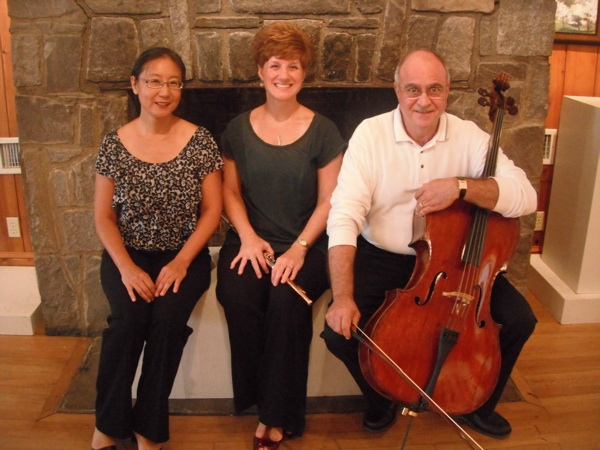 OBE founder Tomoko Deguchi with flutist Amy Orsinger-Whitehead and cellist Nick Lampo